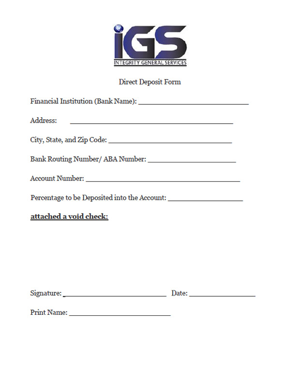 Direct Deposit Form - Integrity General Servcies